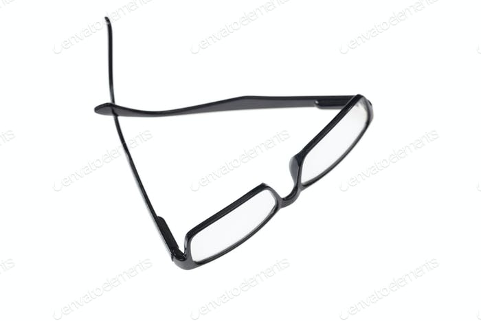 Black eyeglasses isolated on white background