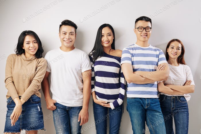 Confident happy university students