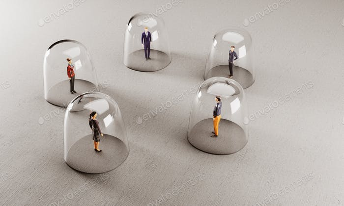 People meet from behind glassy protection. Social distancing