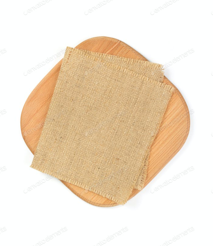 napkin at cutting board isolated on white