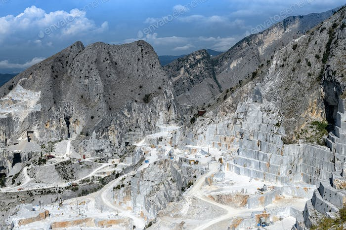 Carrara marble quarries in a mountain valley