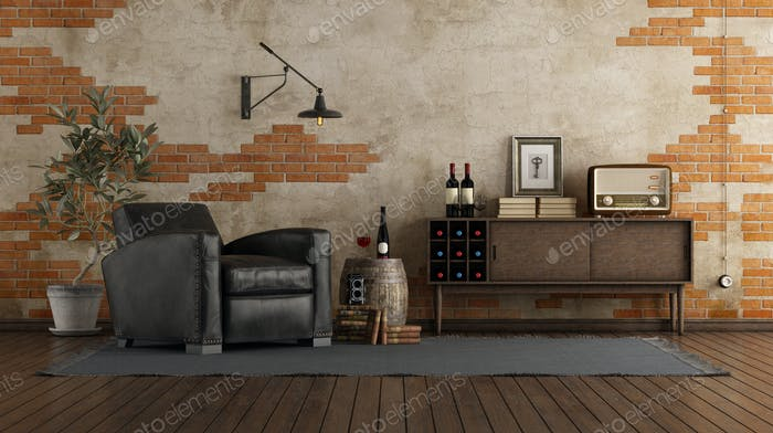 Retro style living room with vintage furniture