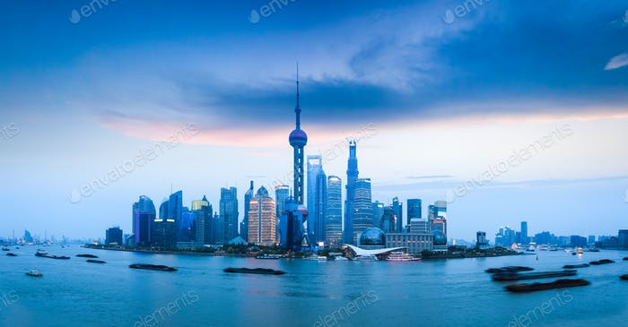 shanghai skyline view