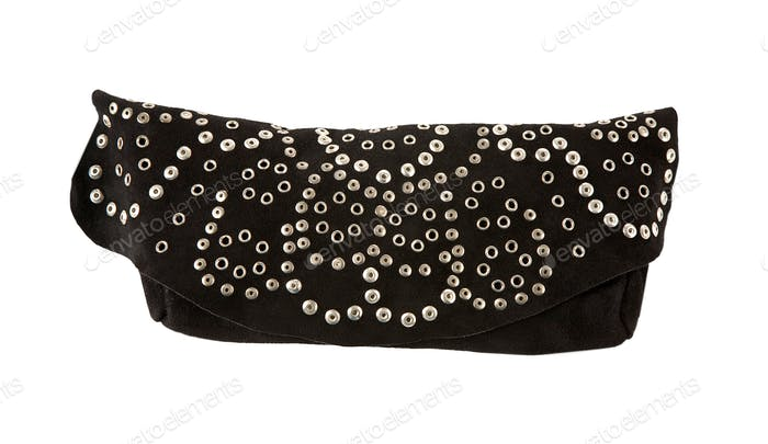 Rivet black leather purse