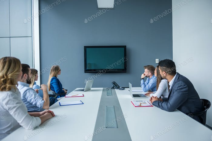 Working in a conference room
