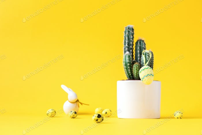 Creative layout Easter background. Cactus