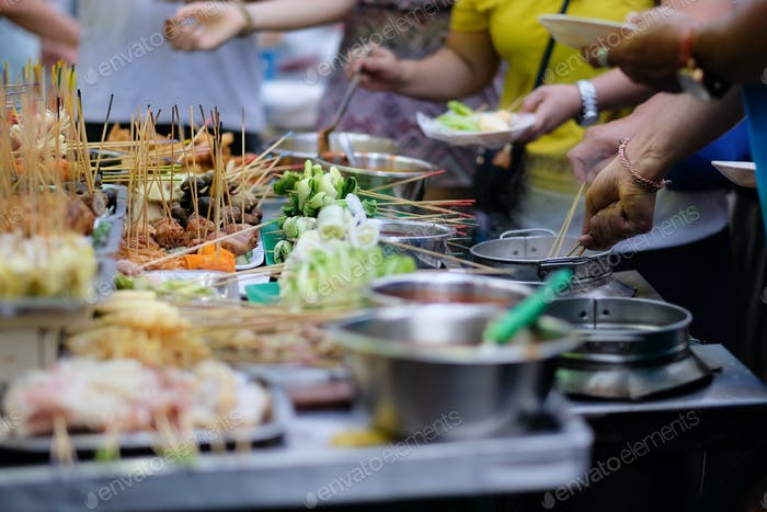 Traditional lok-lok street food from Asia