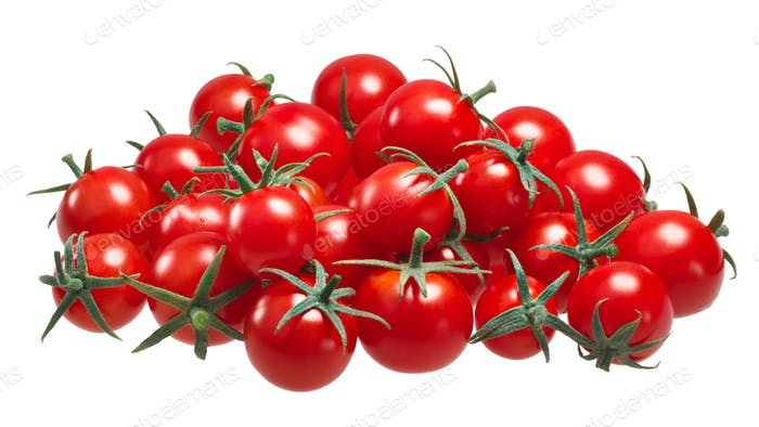 Pile of cherry pachino tomatoes, paths