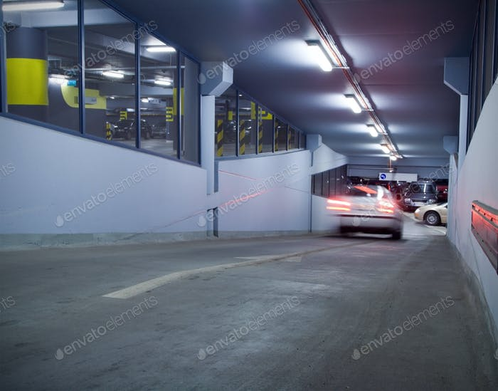 Traffic in underground parking garage
