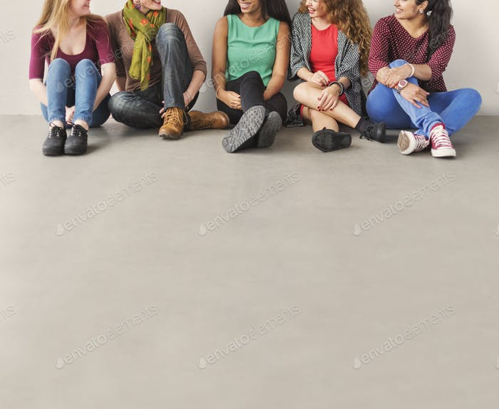 Girls Friendship Togetherness Talking Sitting Girlfriend Concept
