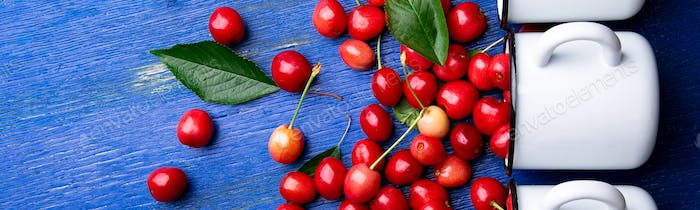 Banner of Red cherries in white basket