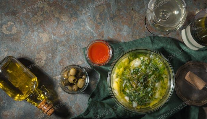 Portuguese soup Caldo Verde on the stone