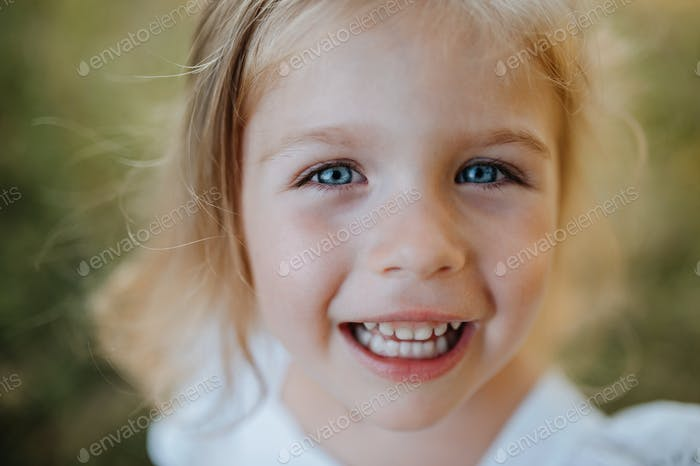 A close-up portrait of small girl in sunny summer nature.