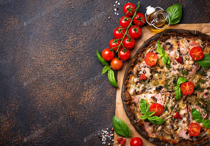 Trendy food Italian black pizza