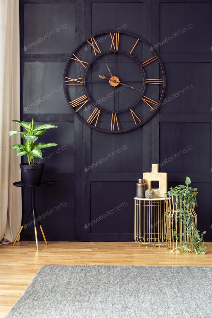 Clock on black wall in living room interior with plants and gold