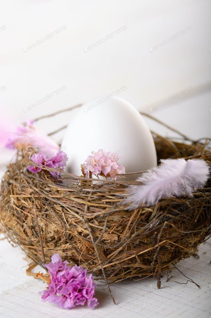 Ei im Nest mit rosa Blumen und Feder auf weißem Tisch