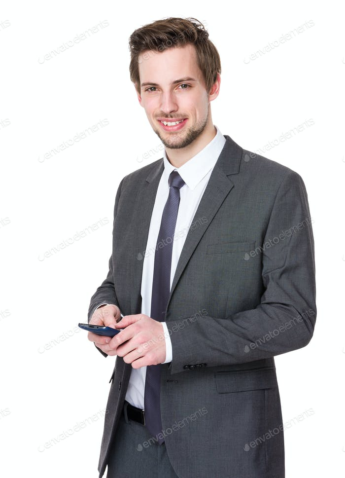 Business man use of mobile phone