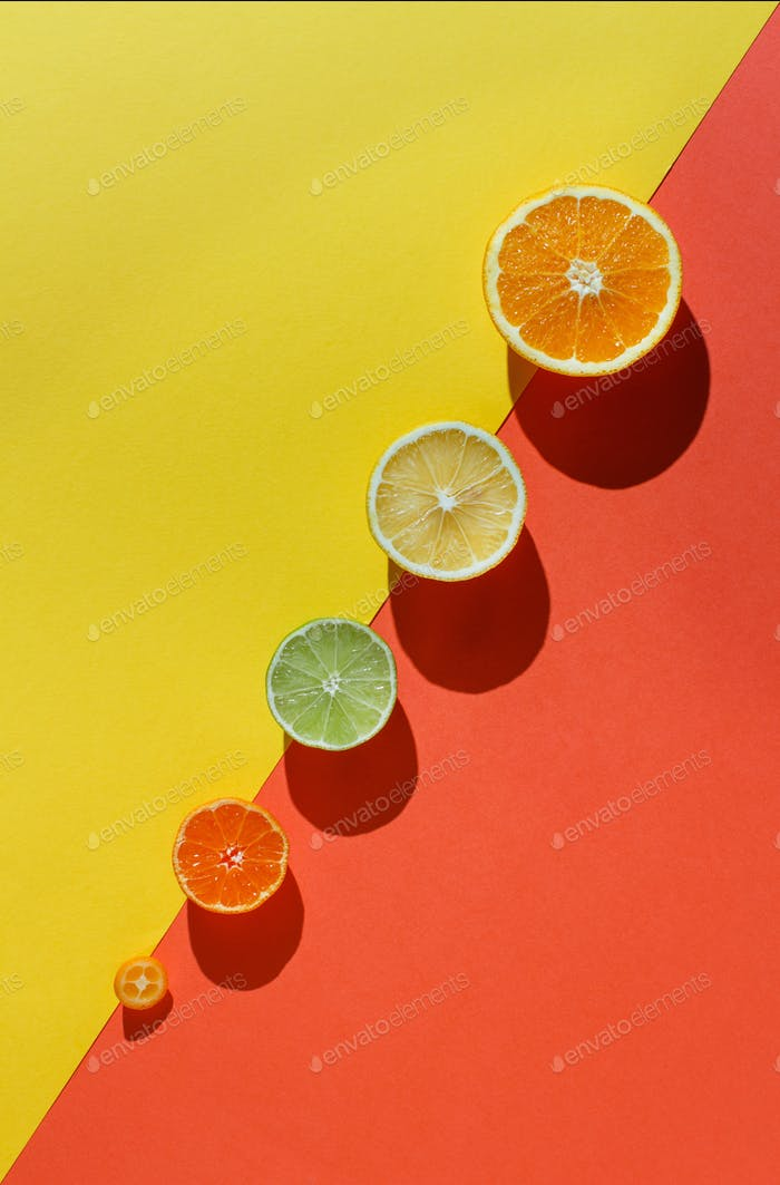 Citrus fruits on a coral red and yellow background