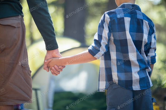 Mid section of father and son holding hands in forest