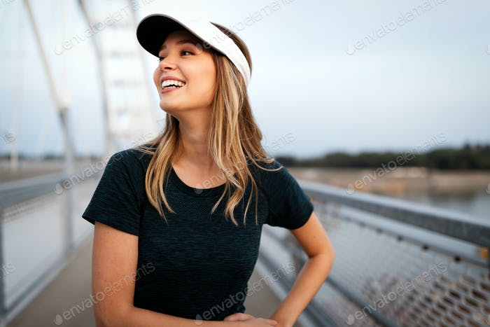 Portrait of fit and sporty young woman