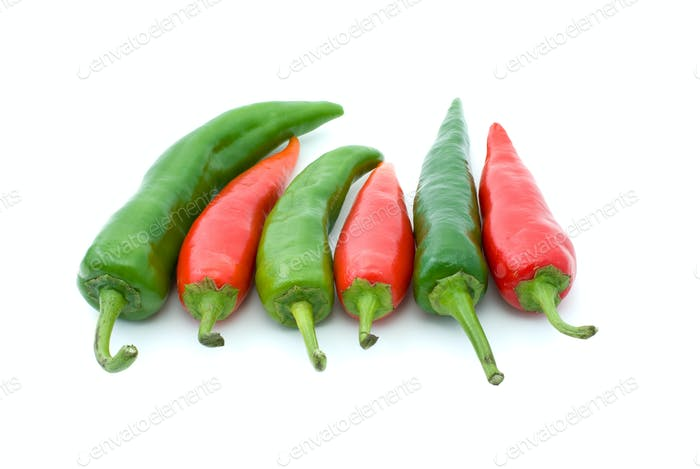 Some red and green hot peppers