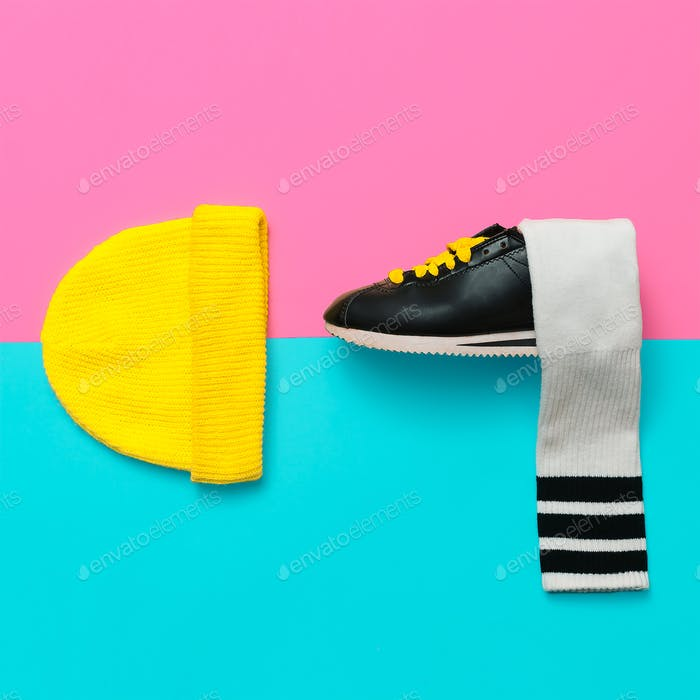 Bright Outfit.  Minimal fashion creative art. Stylish sneakers a