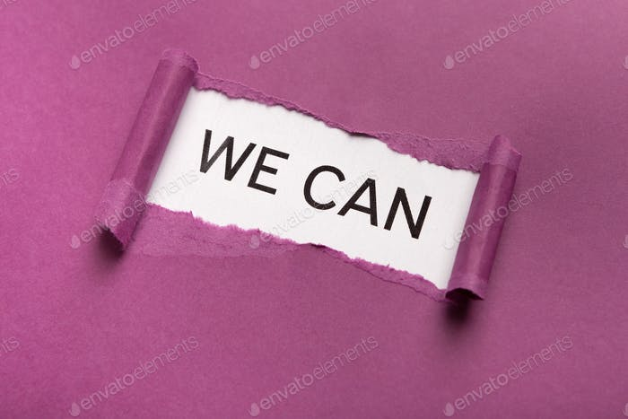 We can inscription on white background appearing behind torn purple paper