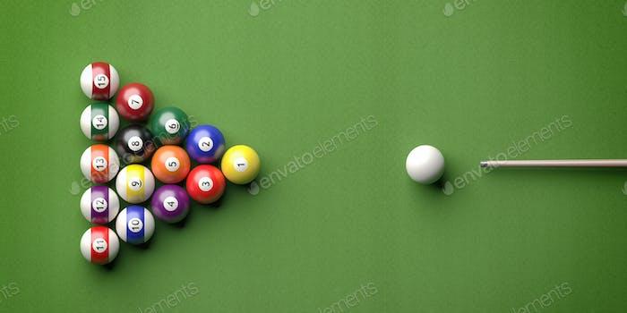Billiard table, pool balls set on green felt. 3d illustration