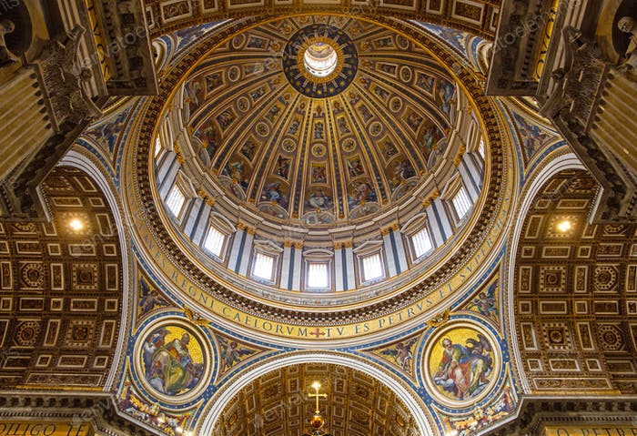 Detail of St Peters basilica cupola in Vatican from inside