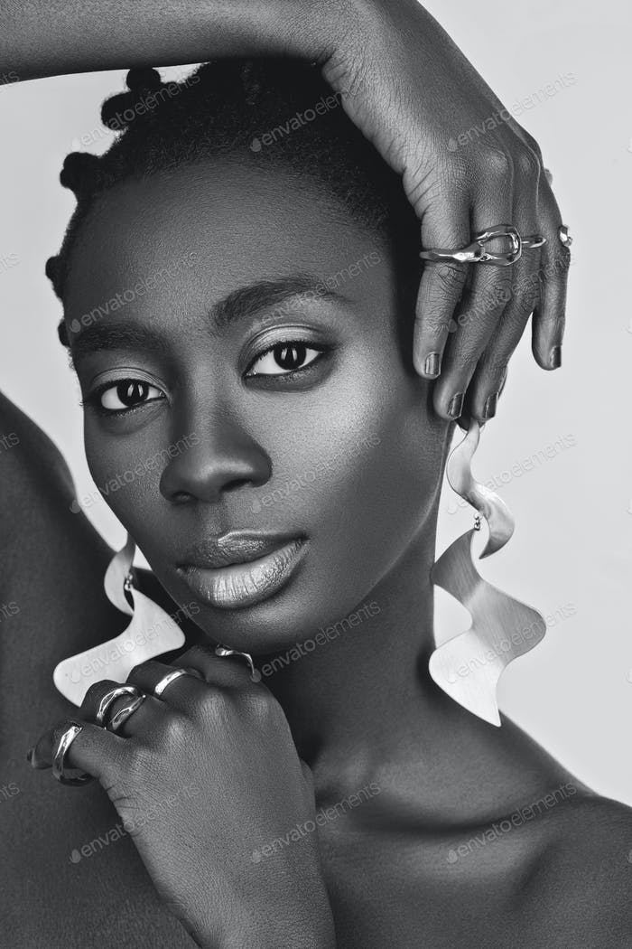 Beautiful black girl with big earrings