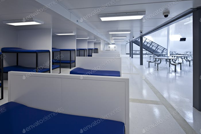 53736,Beds in minimum security jail corridor