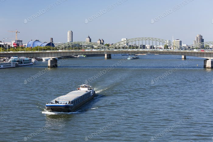 Ship On Rhine River in Cologne, Germany
