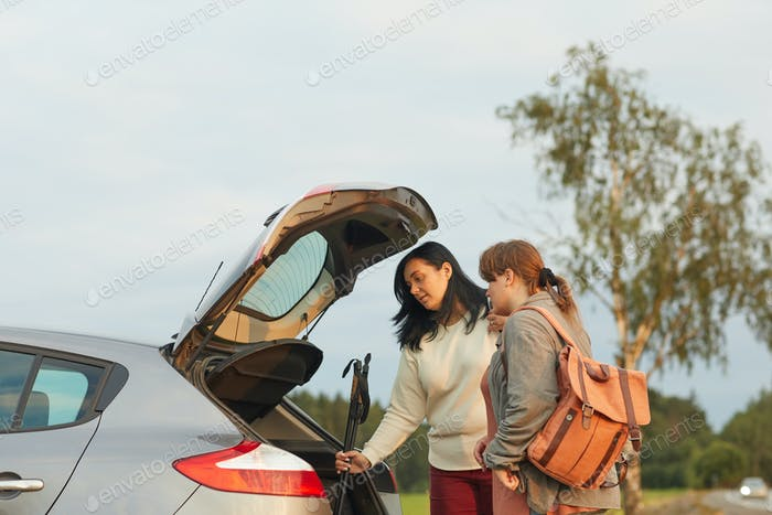 Women travelling by car