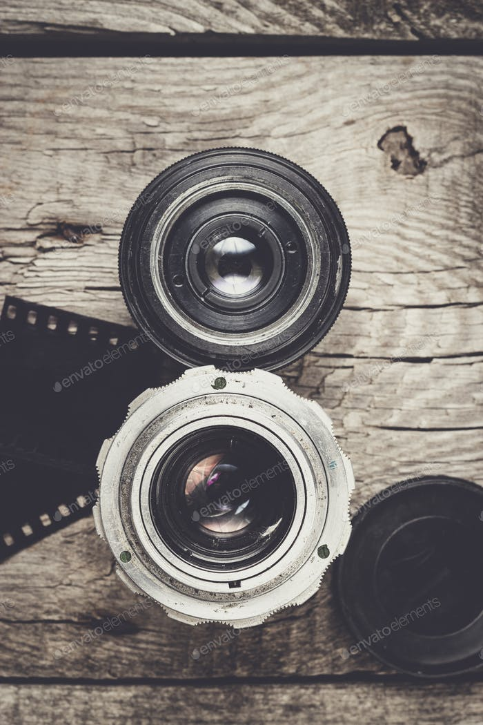 retro camera lenses and negative film
