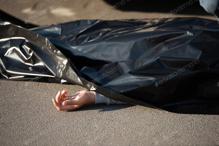 close-up view of corpse on road after traffic collision