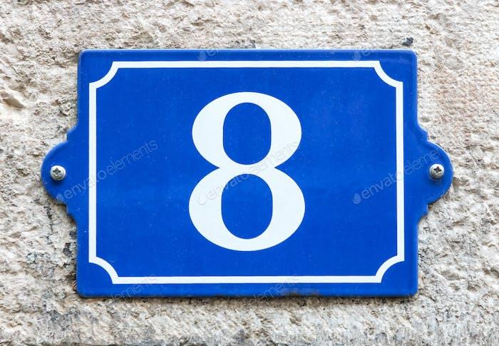 Vintage blue enamel house number 8