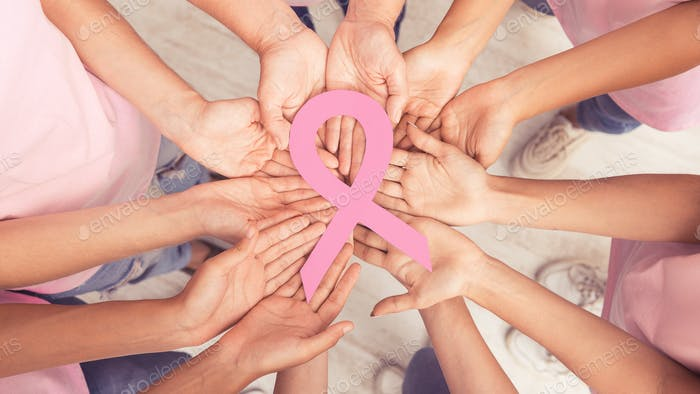 Female Hands Circle Holding Big Pink Ribbon Standing Together, Panorama