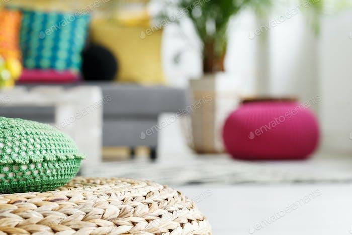 Interior with rattan cushion