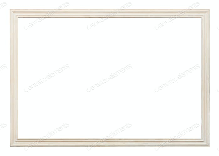 wooden white carved narrow picture frame isolated