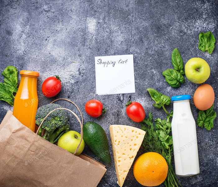 Shopping list and fresh healthy  products.