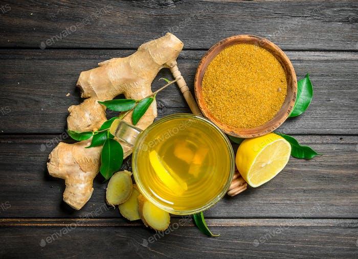 Ginger tea and ground ginger.