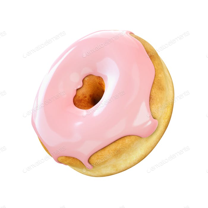 Donut with pink icing isolated on a white background