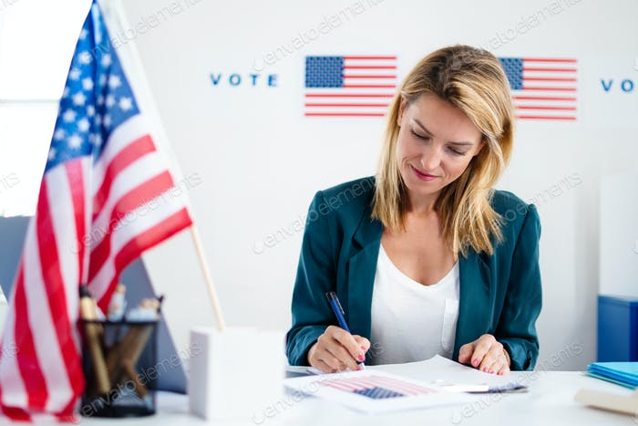 Member of electoral commission in polling place, usa elections