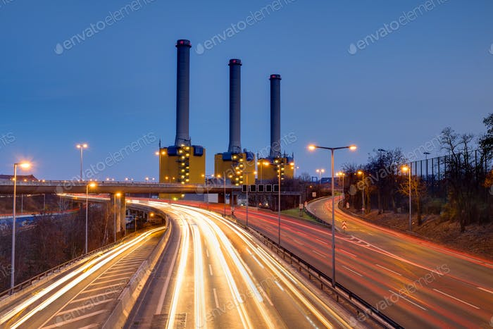 Power generating plant at night