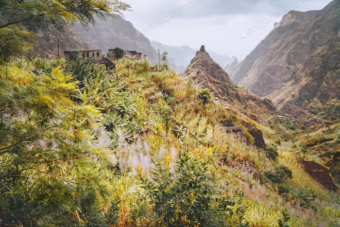 Santo Antao, Cape Verde. Hiking trail path leading between mountains into Xo-Xo valley with scenic