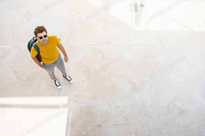 Placeit - Top view of a male student on the university campus