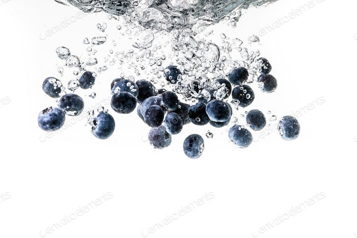 Blueberry's splashing into crystal water