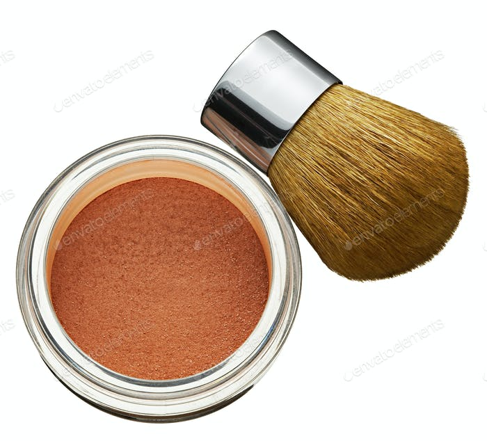 Glass jar of cosmetics foundation powder