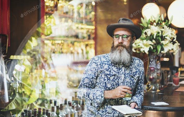 Senior Man Liquor Booze Alcohol Bar Counter Concept