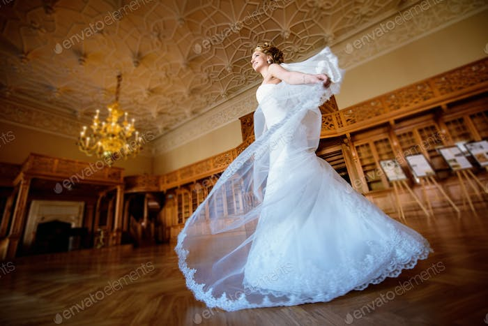 Beauty bride in bridal gown with lace veil indoors